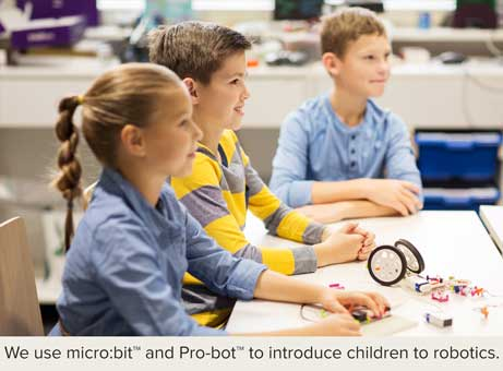 We use micro:bit and Pro-bot to introduce children to robotics.